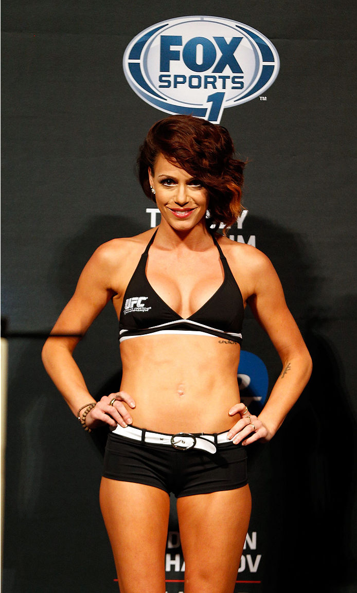 ALBUQUERQUE, NM - JUNE 06:  UFC Octagon Girl Rachelle Leah stands on stage during the UFC Fight Night weigh-in at Tingley Coliseum on June 6, 2014 in Albuquerque, New Mexico.  (Photo by Josh Hedges/Zuffa LLC/Zuffa LLC via Getty Images)