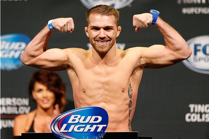 ALBUQUERQUE, NM - JUNE 06:  Bryan Caraway weighs in during the UFC Fight Night weigh-in at Tingley Coliseum on June 6, 2014 in Albuquerque, New Mexico.  (Photo by Josh Hedges/Zuffa LLC/Zuffa LLC via Getty Images)