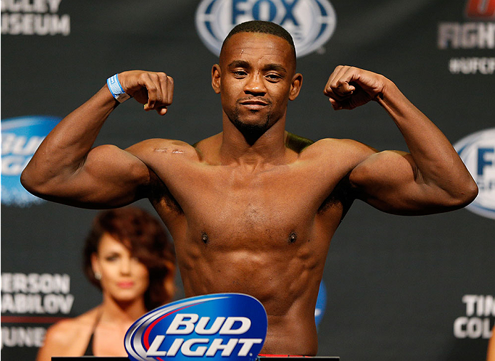 ALBUQUERQUE, NM - JUNE 06:  Yves Edwards weighs in during the UFC Fight Night weigh-in at Tingley Coliseum on June 6, 2014 in Albuquerque, New Mexico.  (Photo by Josh Hedges/Zuffa LLC/Zuffa LLC via Getty Images)