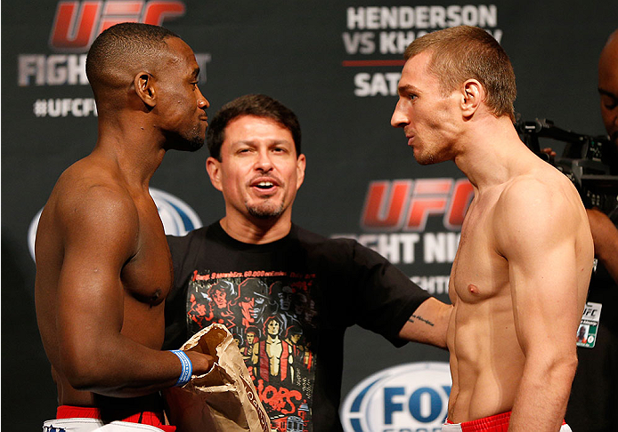 ALBUQUERQUE, NM - JUNE 06:  (L-R) Opponents Yves Edwards and Piotr Hallman face off during the UFC Fight Night weigh-in at Tingley Coliseum on June 6, 2014 in Albuquerque, New Mexico.  (Photo by Josh Hedges/Zuffa LLC/Zuffa LLC via Getty Images)