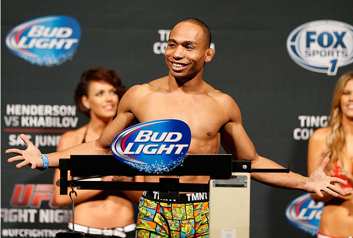 ALBUQUERQUE, NM - JUNE 06:  John Dodson weighs in during the UFC Fight Night weigh-in at Tingley Coliseum on June 6, 2014 in Albuquerque, New Mexico.  (Photo by Josh Hedges/Zuffa LLC/Zuffa LLC via Getty Images)