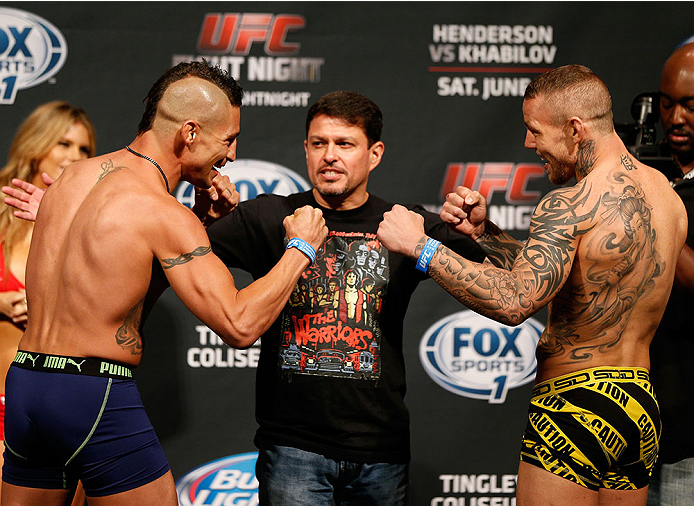 ALBUQUERQUE, NM - JUNE 06:  (L-R) Opponents Diego Sanchez and Ross Pearson of England face off during the UFC Fight Night weigh-in at Tingley Coliseum on June 6, 2014 in Albuquerque, New Mexico.  (Photo by Josh Hedges/Zuffa LLC/Zuffa LLC via Getty Images)