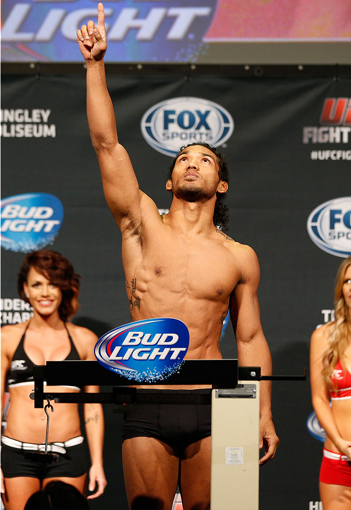 ALBUQUERQUE, NM - JUNE 06:  Benson Henderson weighs in during the UFC Fight Night weigh-in at Tingley Coliseum on June 6, 2014 in Albuquerque, New Mexico.  (Photo by Josh Hedges/Zuffa LLC/Zuffa LLC via Getty Images)