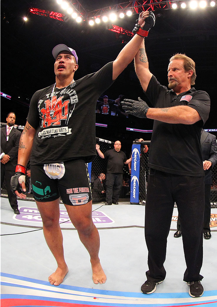MILWAUKEE, WI - AUGUST 31:  Soa Palelei reacts after being declared the winner over Nikita Krylov (not pictured) in their UFC heavyweight bout at BMO Harris Bradley Center on August 31, 2013 in Milwaukee, Wisconsin. (Photo by Ed Mulholland/Zuffa LLC/Zuffa LLC via Getty Images) *** Local Caption *** Soa Palelei