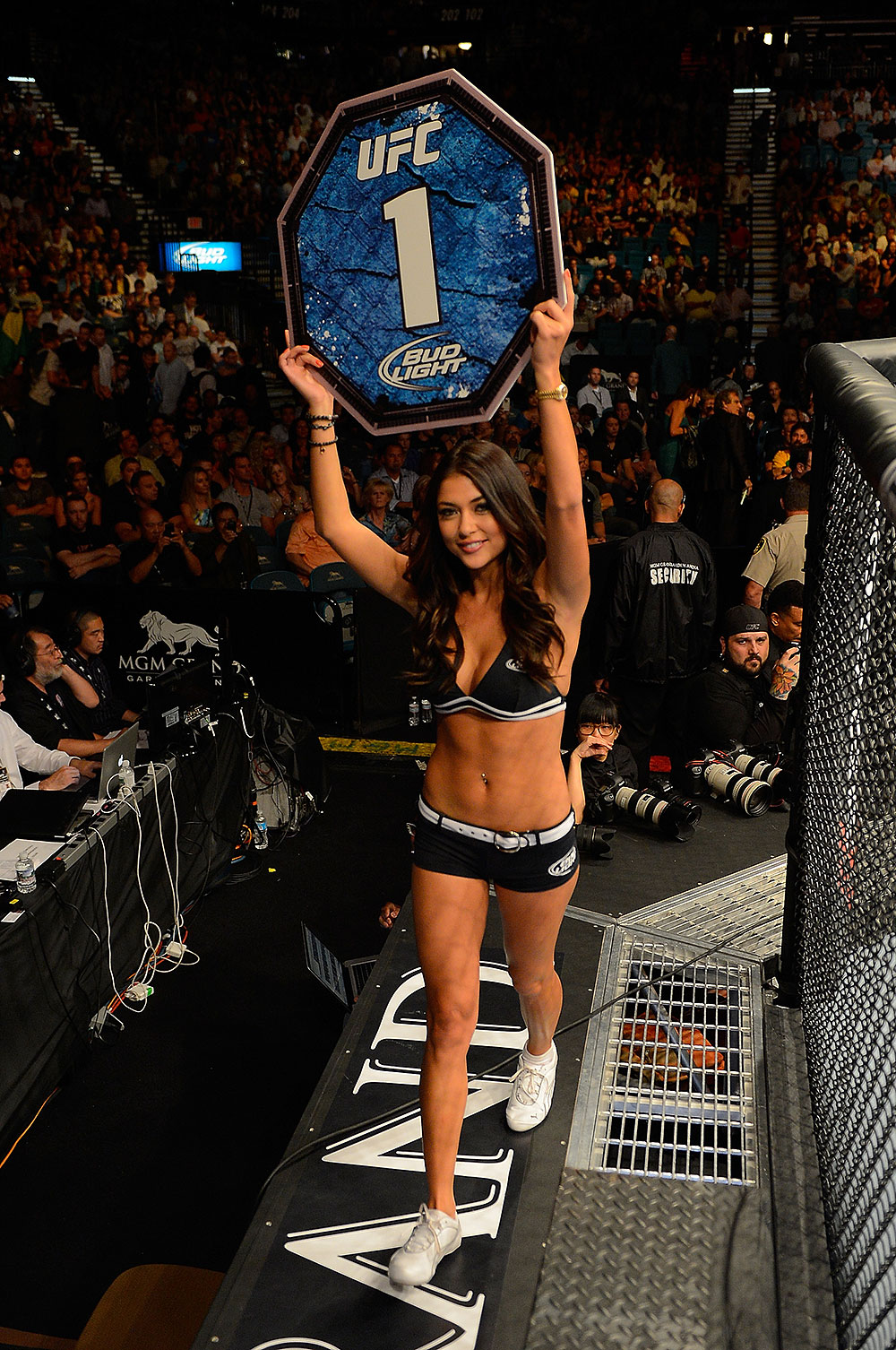 LAS VEGAS, NV - JULY 7:   UFC Octagon Girl Arianny Celeste introduces round one of Guillard vs Camoes during UFC 148 inside MGM Grand Garden Arena on July 7, 2012 in Las Vegas, Nevada.  (Photo by Donald Miralle/Zuffa LLC/Zuffa LLC via Getty Images)  *** Local Caption *** Arianny Celeste