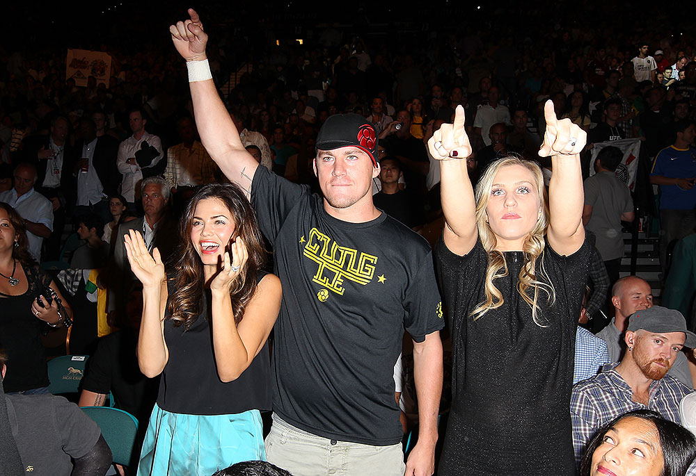 LAS VEGAS, NV - JULY 7:   Channing Tatum (center) in attendance during UFC 148 inside MGM Grand Garden Arena on July 7, 2012 in Las Vegas, Nevada.  (Photo by Jeff Bottari/Zuffa LLC via Getty Images)  *** Local Caption *** Channing Tatum
