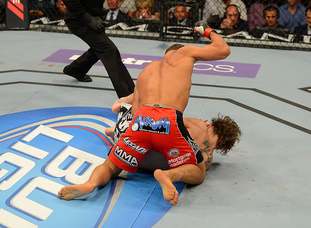LAS VEGAS, NV - JULY 7:   Chad Mendes attempts to finish Cody McKenzie during their featherweight bout at UFC 148 inside MGM Grand Garden Arena on July 7, 2012 in Las Vegas, Nevada.  (Photo by Donald Miralle/Zuffa LLC/Zuffa LLC via Getty Images)  *** Local Caption *** Chad Mendes; Cody McKenzie