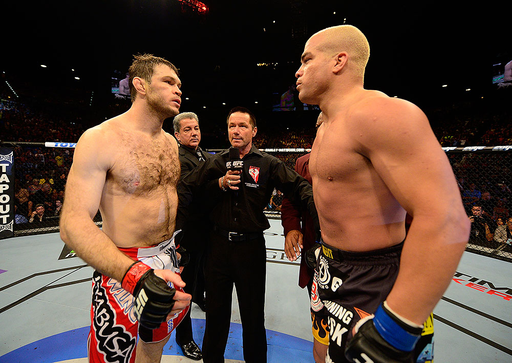 LAS VEGAS, NV - JULY 7:   (L-R) Forrest Griffin and Tito Ortiz face off before their light heavyweight bout at UFC 148 inside MGM Grand Garden Arena on July 7, 2012 in Las Vegas, Nevada.  (Photo by Donald Miralle/Zuffa LLC/Zuffa LLC via Getty Images)  *** Local Caption *** Tito Ortiz; Forrest Griffin