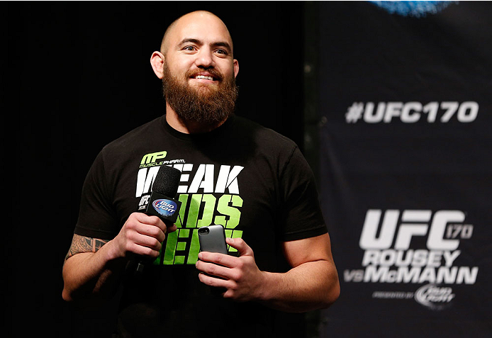LAS VEGAS, NV - FEBRUARY 21:  UFC heavyweight contender Travis Browne interacts with fans during a Q&A session before the UFC 170 weigh-in event at the Mandalay Bay Events Center on February 21, 2014 in Las Vegas, Nevada.  (Photo by Josh Hedges/Zuffa LLC/Zuffa LLC via Getty Images)