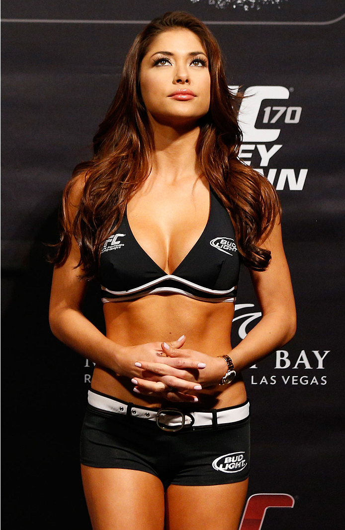 LAS VEGAS, NV - FEBRUARY 21:  UFC Octagon Girl Arianny Celeste stands on stage during the UFC 170 weigh-in event at the Mandalay Bay Events Center on February 21, 2014 in Las Vegas, Nevada. (Photo by Josh Hedges/Zuffa LLC/Zuffa LLC via Getty Images)