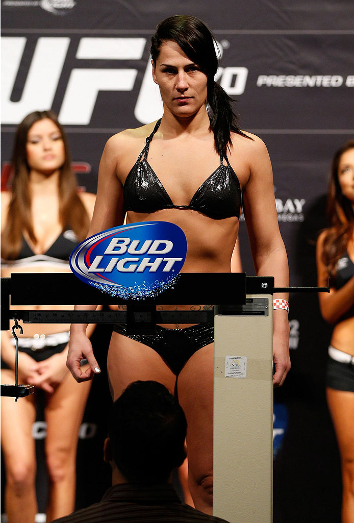 LAS VEGAS, NV - FEBRUARY 21:  Jessica Eye weighs in during the UFC 170 weigh-in event at the Mandalay Bay Events Center on February 21, 2014 in Las Vegas, Nevada. (Photo by Josh Hedges/Zuffa LLC/Zuffa LLC via Getty Images)