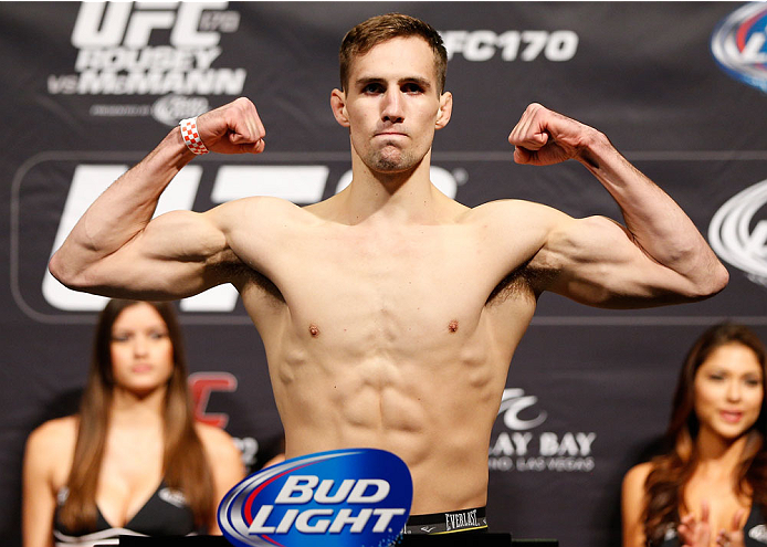 LAS VEGAS, NV - FEBRUARY 21:  Rory MacDonald weighs in during the UFC 170 weigh-in event at the Mandalay Bay Events Center on February 21, 2014 in Las Vegas, Nevada. (Photo by Josh Hedges/Zuffa LLC/Zuffa LLC via Getty Images)