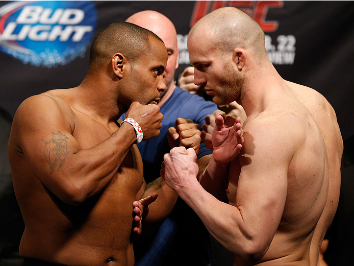 LAS VEGAS, NV - FEBRUARY 21:  (L-R) Opponents Daniel Cormier and Patrick Cummins face off during the UFC 170 weigh-in event at the Mandalay Bay Events Center on February 21, 2014 in Las Vegas, Nevada. (Photo by Josh Hedges/Zuffa LLC/Zuffa LLC via Getty Images)