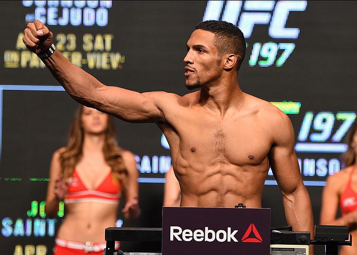 LAS VEGAS, NV - APRIL 20:   Kevin Lee steps on the scale during the UFC 197 weigh-in at the MGM Grand Garden Arena on April 20, 2016 in Las Vegas, Nevada. (Photo by Josh Hedges/Zuffa LLC/Zuffa LLC via Getty Images)