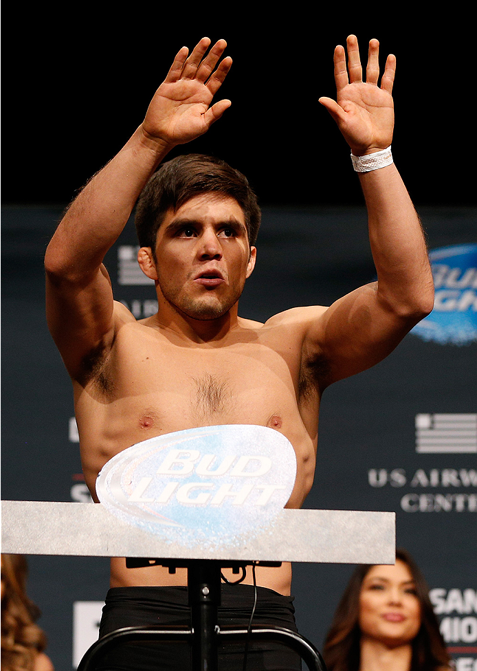 PHOENIX, AZ - DECEMBER 12:  Henry Cejudo weighs in during the UFC Fight Night weigh-in event at the Phoenix Convention Center on December 12, 2014 in Phoenix, Arizona. (Photo by Josh Hedges/Zuffa LLC/Zuffa LLC via Getty Images)
