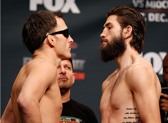 PHOENIX, AZ - DECEMBER 12:  (L-R) Opponents Joe Ellenberger and Bryan Barberena face off during the UFC Fight Night weigh-in event at the Phoenix Convention Center on December 12, 2014 in Phoenix, Arizona. (Photo by Josh Hedges/Zuffa LLC/Zuffa LLC via Getty Images)