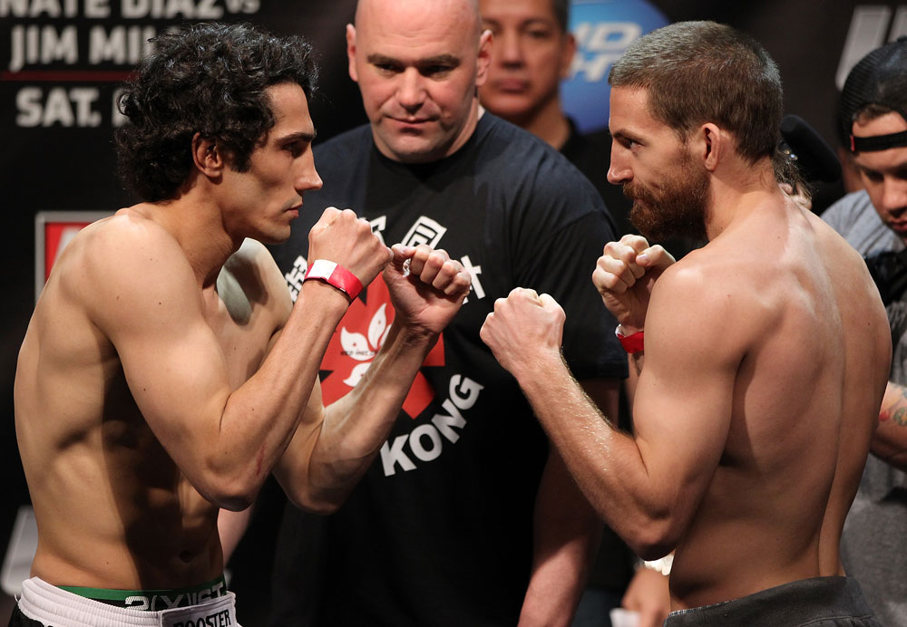 EAST RUTHERFORD, NJ - MAY 04:  (L-R) Opponents Roland Delorme and Nick Denis face off after weighing in during the UFC on FOX official weigh in at Izod Center on May 4, 2012 in East Rutherford, New Jersey.  (Photo by Josh Hedges/Zuffa LLC/Zuffa LLC via Getty Images)
