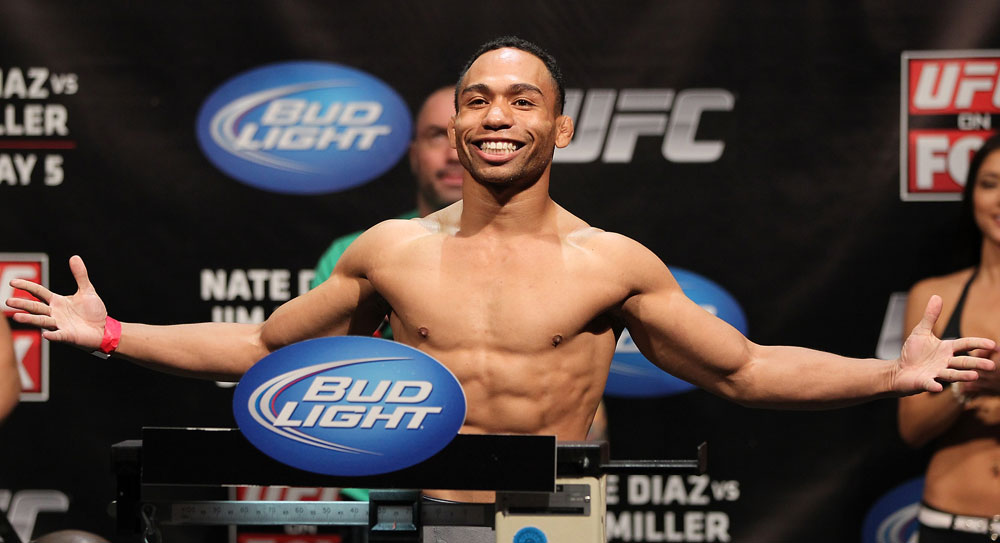EAST RUTHERFORD, NJ - MAY 04:  John Dodson weighs in during the UFC on FOX official weigh in at Izod Center on May 4, 2012 in East Rutherford, New Jersey.  (Photo by Josh Hedges/Zuffa LLC/Zuffa LLC via Getty Images)