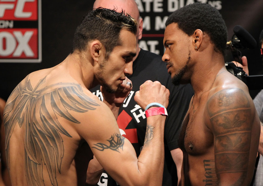 EAST RUTHERFORD, NJ - MAY 04:  (L-R) Lightweight opponents Tony Ferguson and Michael Johnson face off after weighing in during the UFC on FOX official weigh in at Izod Center on May 4, 2012 in East Rutherford, New Jersey.  (Photo by Josh Hedges/Zuffa LLC/Zuffa LLC via Getty Images)