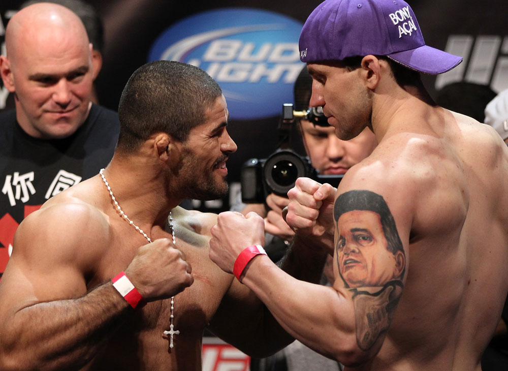 EAST RUTHERFORD, NJ - MAY 04:  (L-R) Middleweight opponents Rousimar Palhares and Alan Belcher face off after weighing in during the UFC on FOX official weigh in at Izod Center on May 4, 2012 in East Rutherford, New Jersey.  (Photo by Josh Hedges/Zuffa LLC/Zuffa LLC via Getty Images)