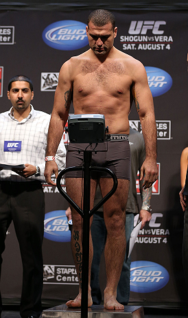 LOS ANGELES - AUGUST 03: Mauricio &#39;&#39;Shogun&#39;&#39; Rua makes weight during the UFC on FOX weigh in at Staples Center on August 3, 2012 in Los Angeles, California. (Photo by Josh Hedges/Zuffa LLC/Zuffa LLC via Getty Images)