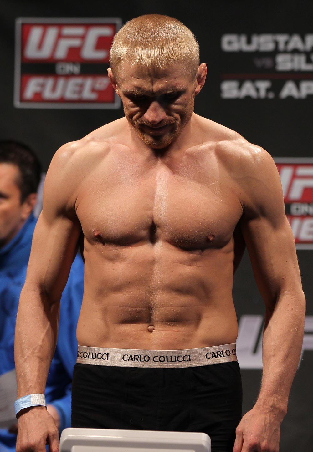 STOCKHOLM, SWEDEN - APRIL 13:  Dennis Siver of Germany weighs in during the official UFC on Fuel TV weigh in event at Ericsson Globe on April 13, 2012 in Stockholm, Sweden.  (Photo by Josh Hedges/Zuffa LLC/Zuffa LLC via Getty Images)