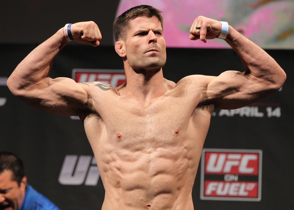 STOCKHOLM, SWEDEN - APRIL 13:  Brian Stann weighs in during the official UFC on Fuel TV weigh in event at Ericsson Globe on April 13, 2012 in Stockholm, Sweden.  (Photo by Josh Hedges/Zuffa LLC/Zuffa LLC via Getty Images)