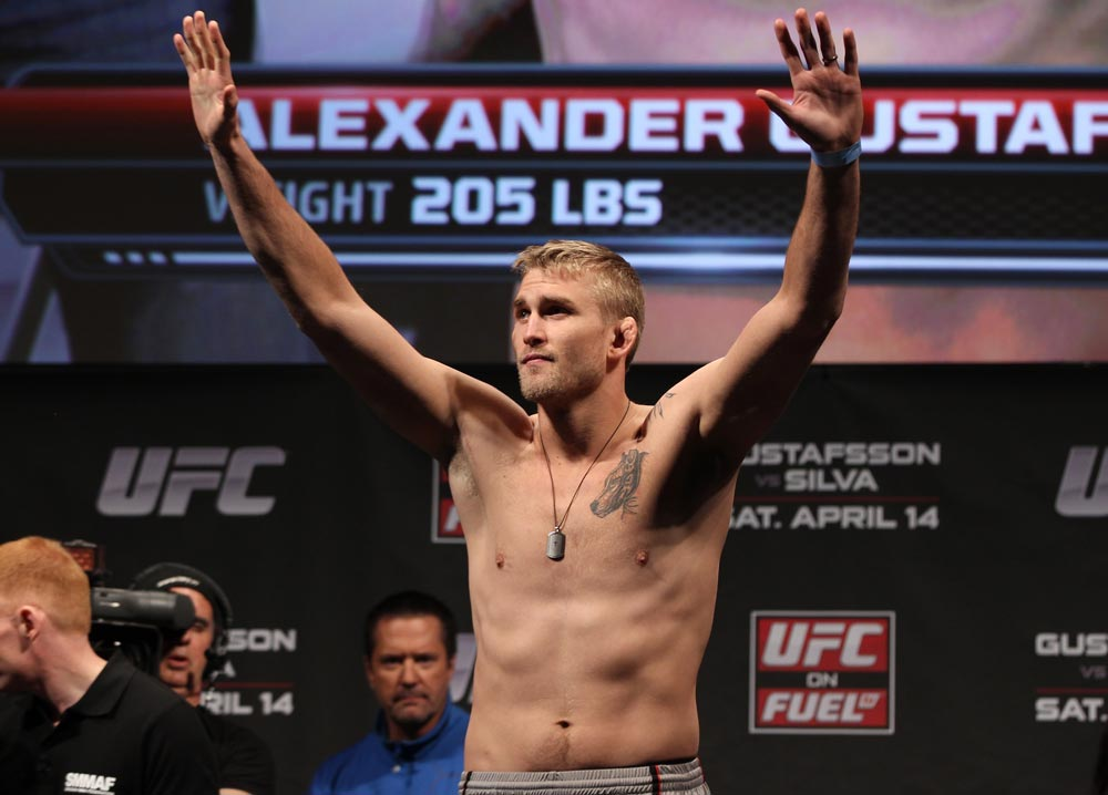 STOCKHOLM, SWEDEN - APRIL 13:  Alexander Gustafsson of Sweden weighs in during the official UFC on Fuel TV weigh in event at Ericsson Globe on April 13, 2012 in Stockholm, Sweden.  (Photo by Josh Hedges/Zuffa LLC/Zuffa LLC via Getty Images)