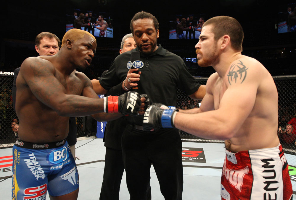 NASHVILLE, TN - JANUARY 20:  Opponents Melvin Guillard (L) and Jim Miller (R) touch gloves before their main event bout during the UFC on FX event at Bridgestone Arena on January 20, 2012 in Nashville, Tennessee.  (Photo by Josh Hedges/Zuffa LLC/Zuffa LLC via Getty Images)