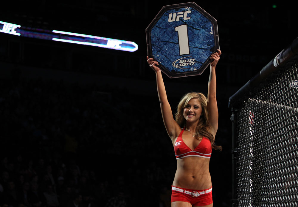 NASHVILLE, TN - JANUARY 20:  UFC Octagon Girl Brittney Palmer introduces round one before the Camoes v Hayden bout during the UFC on FX event at Bridgestone Arena on January 20, 2012 in Nashville, Tennessee.  (Photo by Josh Hedges/Zuffa LLC/Zuffa LLC via Getty Images)