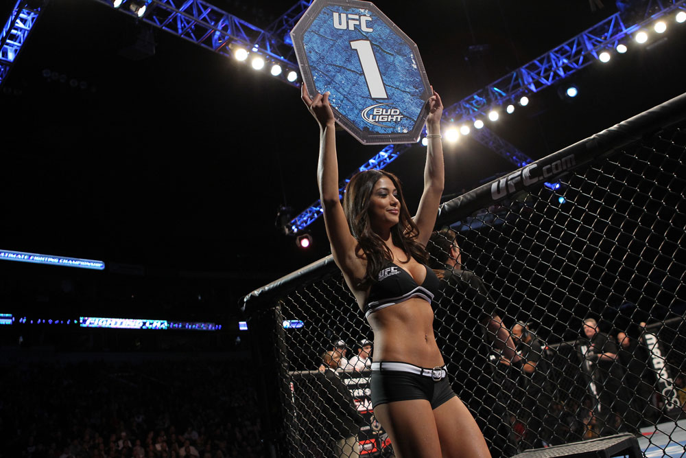 NASHVILLE, TN - JANUARY 20:  UFC Octagon Girl Arianny Celeste introduces round one before the Easton vs Papazian bout during the UFC on FX event at Bridgestone Arena on January 20, 2012 in Nashville, Tennessee.  (Photo by Josh Hedges/Zuffa LLC/Zuffa LLC via Getty Images)
