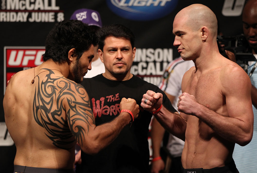 SUNRISE, FL - JUNE 07:   (L-R) Opponents Henry Martinez and Bernardo Magalhaes face off after making weight during the UFC on FX 3 official weigh in at Bank Atlantic Center on June 7, 2012 in Sunrise, Florida.  (Photo by Josh Hedges/Zuffa LLC/Zuffa LLC via Getty Images)