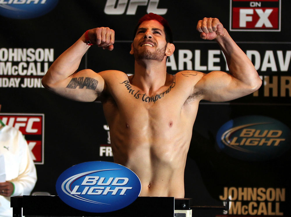 SUNRISE, FL - JUNE 07:   Jared Papazian makes weight during the UFC on FX 3 official weigh in at Bank Atlantic Center on June 7, 2012 in Sunrise, Florida.  (Photo by Josh Hedges/Zuffa LLC/Zuffa LLC via Getty Images)