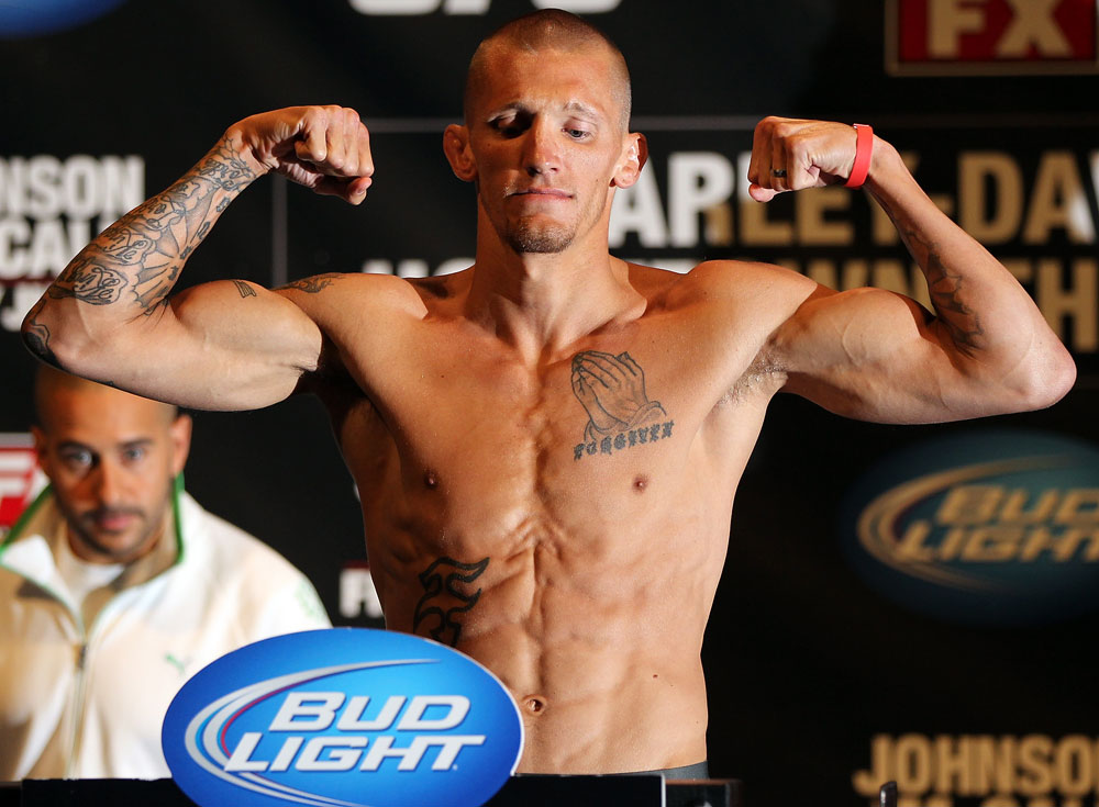 SUNRISE, FL - JUNE 07:   Dustin Pague makes weight during the UFC on FX 3 official weigh in at Bank Atlantic Center on June 7, 2012 in Sunrise, Florida.  (Photo by Josh Hedges/Zuffa LLC/Zuffa LLC via Getty Images)