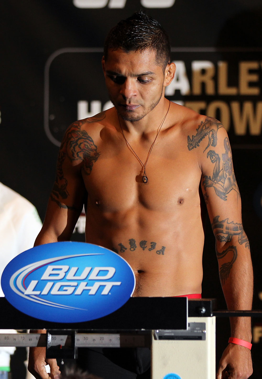 SUNRISE, FL - JUNE 07:   Leonard Garcia makes weight during the UFC on FX 3 official weigh in at Bank Atlantic Center on June 7, 2012 in Sunrise, Florida.  (Photo by Josh Hedges/Zuffa LLC/Zuffa LLC via Getty Images)