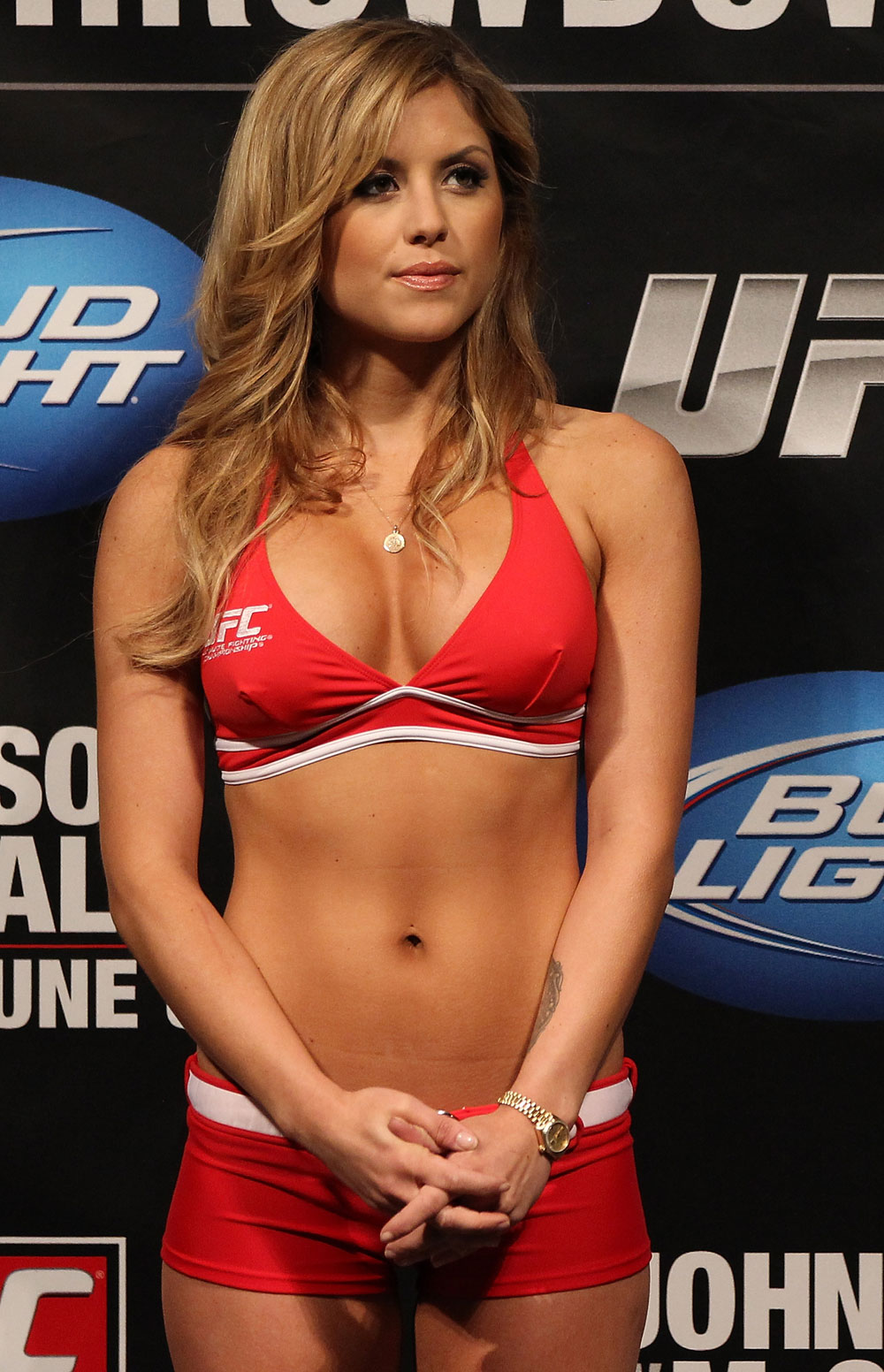 SUNRISE, FL - JUNE 07:   UFC Octagon Girl Brittney Palmer attends the UFC on FX 3 official weigh in at Bank Atlantic Center on June 7, 2012 in Sunrise, Florida.  (Photo by Josh Hedges/Zuffa LLC/Zuffa LLC via Getty Images)