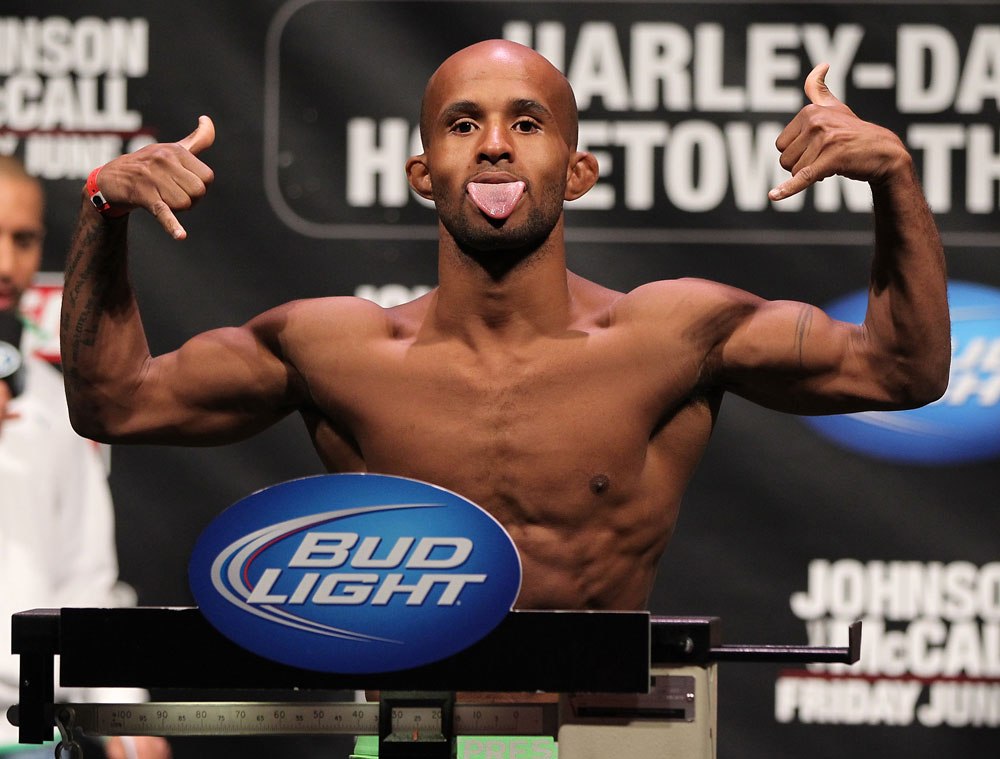 SUNRISE, FL - JUNE 07:   Demetrious Johnson makes weight during the UFC on FX 3 official weigh in at Bank Atlantic Center on June 7, 2012 in Sunrise, Florida.  (Photo by Josh Hedges/Zuffa LLC/Zuffa LLC via Getty Images)