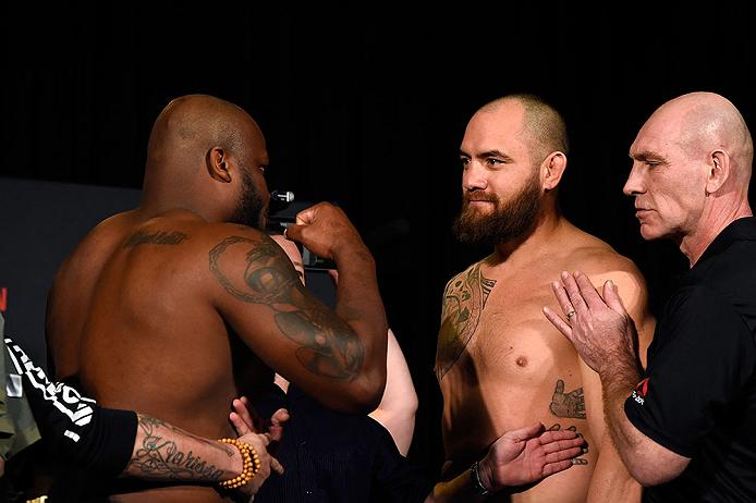 HALIFAX, NS - FEBRUARY 18:  (L-R) Derrick Lewis and Travis Browne face off during the UFC Fight Night weigh-in at the World Trade Convention Centre on February 18, 2017 in Halifax, Nova Scotia, Canada. (Photo by Josh Hedges/Zuffa LLC/Zuffa LLC via Getty Images)