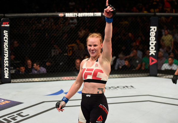 CHICAGO, IL - JULY 23: Valentina Shevchenko of Kyrgyzstan celebrates after defeating Holly Holm by unanimous decision in their women's bantamweight bout during the UFC Fight Night event at the United Center on July 23, 2016 in Chicago, Illinois. (Photo by Josh Hedges/Zuffa LLC/Zuffa LLC via Getty Images)