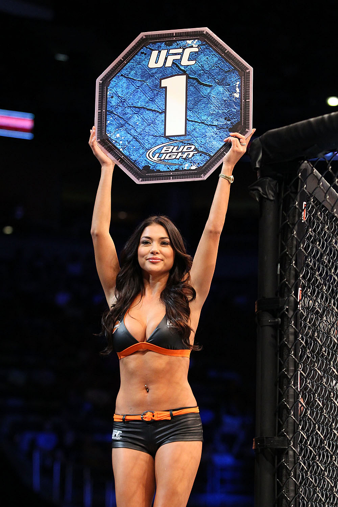 MILWAUKEE, WI - AUGUST 31:  UFC Octagon Girl Arianny Celeste introduces round one for the bout between Pascal Krauss and Hyun Gyu Lim in their UFC welterweight bout at BMO Harris Bradley Center on August 31, 2013 in Milwaukee, Wisconsin. (Photo by Ed Mulholland/Zuffa LLC/Zuffa LLC via Getty Images) *** Local Caption *** Arianny Celeste