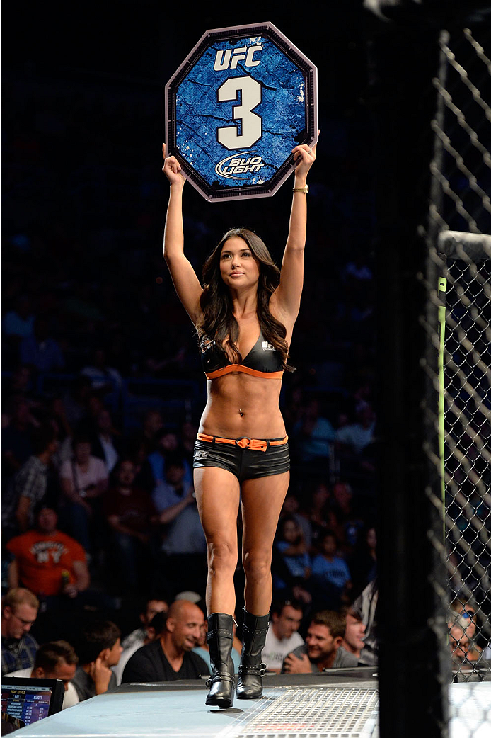 MILWAUKEE, WI - AUGUST 31:  UFC Octagon Girl Arianny Celeste introduces round three for the bout between Louis Gaudinot and Tim Elliott in their UFC flyweight bout at BMO Harris Bradley Center on August 31, 2013 in Milwaukee, Wisconsin. (Photo by Jeff Bottari/Zuffa LLC/Zuffa LLC via Getty Images) *** Local Caption *** Arianny Celeste