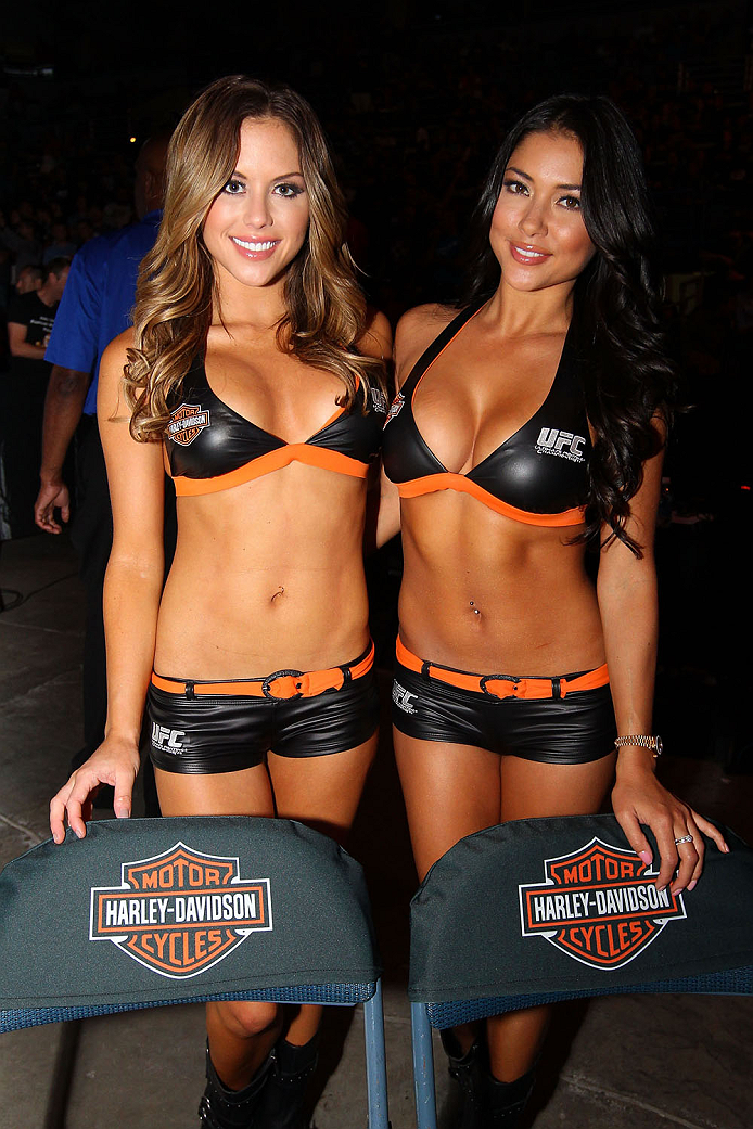 MILWAUKEE, WI - AUGUST 31:  (L-R) UFC Octagon Girls Brittney Palmer and Arianny Celeste pose prior to the Chad Mendes and Clay Guida bout in their UFC featherweight bout at BMO Harris Bradley Center on August 31, 2013 in Milwaukee, Wisconsin. (Photo by Ed Mulholland/Zuffa LLC/Zuffa LLC via Getty Images) *** Local Caption *** Brittney Palmer; Arianny Celeste