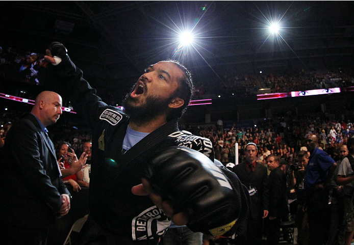 MILWAUKEE, WI - AUGUST 31:  Benson Henderson enters the arena prior to his bout against Anthony Pettis in their UFC lightweight championship bout at BMO Harris Bradley Center on August 31, 2013 in Milwaukee, Wisconsin. (Photo by Ed Mulholland/Zuffa LLC/Zuffa LLC via Getty Images) *** Local Caption *** Benson Henderson