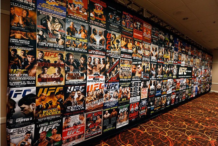 LAS VEGAS, NV - NOVEMBER 15:  A general view of the wall of all UFC posters on display in the press room during the UFC 167 weigh-in inside the MGM Grand Garden Arena on November 15, 2013 in Las Vegas, Nevada. (Photo by Josh Hedges/Zuffa LLC/Zuffa LLC via Getty Images)