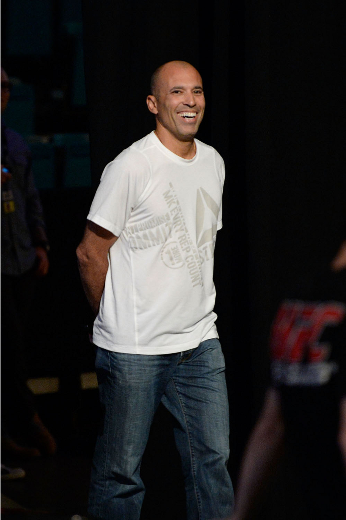 LAS VEGAS, NEVADA - NOVEMBER 15:  UFC legend Royce Gracie interacts with fans during a Q&A session before the UFC 167 weigh-in event at the MGM Grand Garden Arena on November 15, 2013 in Las Vegas, Nevada. (Photo by Jeff Bottari/Zuffa LLC/Zuffa LLC via Getty Images)