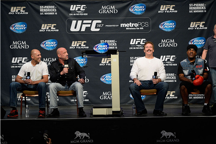 LAS VEGAS, NEVADA - NOVEMBER 15:  (L-R) UFC legends Royce Gracie, Mark Coleman, Dan Severn and Art Jimmerson interact with fans during a Q&A session before the UFC 167 weigh-in event at the MGM Grand Garden Arena on November 15, 2013 in Las Vegas, Nevada. (Photo by Jeff Bottari/Zuffa LLC/Zuffa LLC via Getty Images)
