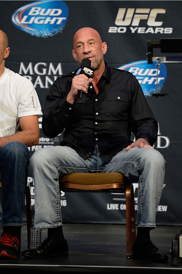 LAS VEGAS, NEVADA - NOVEMBER 15:  UFC legend Mark Coleman interacts with fans during a Q&A session before the UFC 167 weigh-in event at the MGM Grand Garden Arena on November 15, 2013 in Las Vegas, Nevada. (Photo by Jeff Bottari/Zuffa LLC/Zuffa LLC via Getty Images)