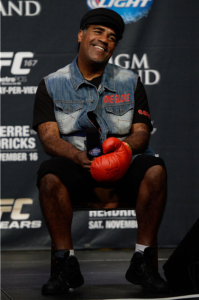 LAS VEGAS, NEVADA - NOVEMBER 15:  UFC legend Art Jimmerson interacts with fans during a Q&A session before the UFC 167 weigh-in event at the MGM Grand Garden Arena on November 15, 2013 in Las Vegas, Nevada. (Photo by Jeff Bottari/Zuffa LLC/Zuffa LLC via Getty Images)