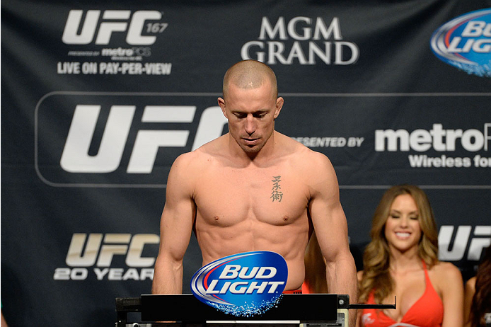 LAS VEGAS, NEVADA - NOVEMBER 15:  Georges St-Pierre weighs in during the UFC 167 weigh-in event at the MGM Grand Garden Arena on November 15, 2013 in Las Vegas, Nevada. (Photo by Jeff Bottari/Zuffa LLC/Zuffa LLC via Getty Images)