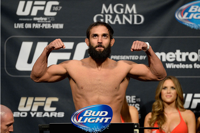 LAS VEGAS, NEVADA - NOVEMBER 15:  Johny Hendricks weighs in during the UFC 167 weigh-in event at the MGM Grand Garden Arena on November 15, 2013 in Las Vegas, Nevada. (Photo by Jeff Bottari/Zuffa LLC/Zuffa LLC via Getty Images)